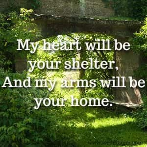My heart will be your shelter, And my arms will be your home.