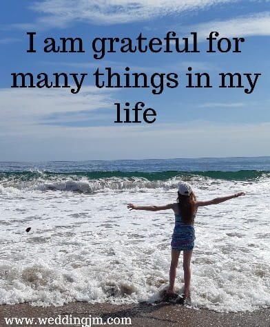 I am grateful for many  	things in my life