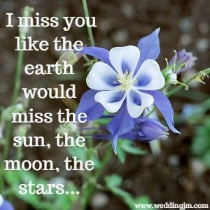 I miss you like the earth would miss the sun, the moon, the stars...