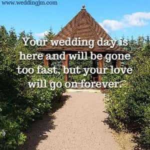 Your wedding day is  			here and will be gone too fast, but your love will go on forever.