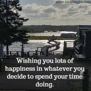 Wishing you lots of happiness in whatever  		you decide to spend your time doing.